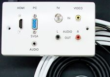 AV Wall Plate, HDMI / VGA / 3.5mm Audio / 3 Phono / TV Aerial Sockets, 3M Cables