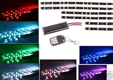 6PC RGB LED Car Motorcycle Chopper Frame Glow Lights Flexible Neon Strips Kit