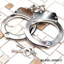 Professional Chrome Nickle Plated Steel Double Lock Police Hand Cuffs w/ Keys