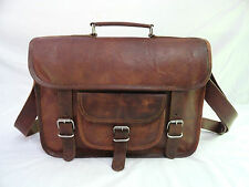 "Real Brown Leather 13"" Macbook Briefcase Laptop Satchel Attache Messenger Bag"