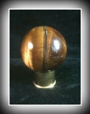 "Beautiful 36mm 1 3/8"" Tiger's Eye Sphere with Brass Shotgun Shell Casing Stand"