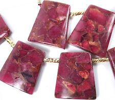 28x25mm Ruby in Quartz with Pyrite Ladder Trapezoid Pendant Beads (6)