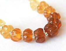 HESSONITE GARNET BEADS CARVED RONDELLE 5.5 MM 11 PCS NATURAL GEMSTONE #3255