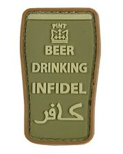 "Military Morale 3D Rubber Patch ""BEER DRINKING INFIDEL"" OLIVE - AIRSOFT"