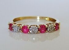 Beautiful 9ct Gold Ruby & Diamond Eternity Ring Size O