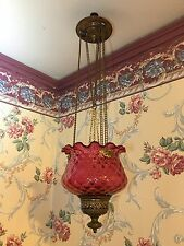 Antique 1890s Pull Down Hanging Cranberry Red Quilted Glass Candle Lamp Light