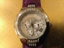 WOMAN'S GUESS  ANALOG WATCH MULT-DIAL CRYSALS PURPLE LEATHER BAND