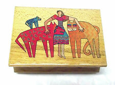 Laurel Burch Kindred Spirits rubber stamp wood mounted 945H Cats Animals mounted