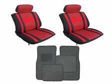 Mesh Red & Black Seat Covers W/ Charcoal Carpet floor Mats for Cars SUVS-Combo