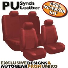 Red PU Faux Leather Car Seat Cover Set Headrests Steering Wheel 13pc CS1