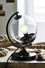 Nautical Industrial Retro Glass Globe Black and Clear Table Desk Office Lamp