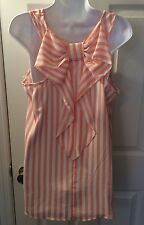 New LOVELY DAY Drape Back Bow Pink White Stripe Tank Top Blouse Shirt Sz L Shop!