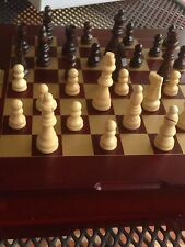Chess Set Wooden Felt Lined Hand Crafted Travel Case