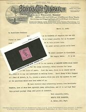 Philatelic Letter:Boyd's City Dispatch, N.Y.1928, 20L44 remainder stamp (1878) #