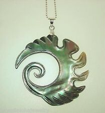43mm Maori Hand Carved Black-Lip Mother of Pearl Tribal Koru Ocean Wave Pendant