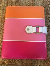 Franklin Covey 365 Pink Orange Striped Planner Binder Organizer with Pockets,