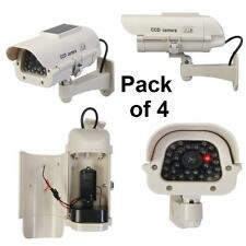 SET OF 4 Solar-Powered Dummy CCTV CameraS with LED internal or external use