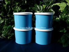 Tupperware New Set of 4 Blue Mini Canisters  2 cup, white seal Snack Cup Bowls