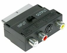 Switchable Scart Block Adapter with 3 Phono (2 audio 1 Video) and S-Video