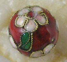 10pcs Red Cloisonne Enamel Round Beads 15mm E2179