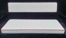 "Replacement Boat Cushion Set White Pleated / Red Piping 30""x12"" and 30""x6"""