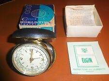 Elgin World-Time Travel Alarm Clock Clamshell Black - 1965 Bank Advertisement