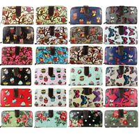 Ladies Designer Butterfly Owl Cupcake Flowers Oilcloth Bifold Wallet Purse Bag