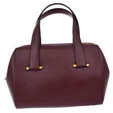 Authentic Must De Cartier 2C Logos Hand Bag Leather Bordeaux Spain 05Z689