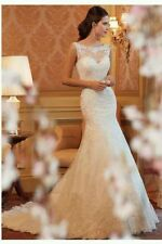 UK New White/Ivory Lace mermaid wedding dress Bridal Gown Size 6-16