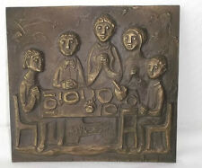 "XXL Bronze Relief  ""Tischgebet"" ""table grace"" EGINO WEINERT, ca 17x16cm, Plaque"