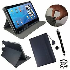 "ZTE Light Tab 2 V9A - 7 inch  Genuine Leather Flip Case Cover - 7"" Black"