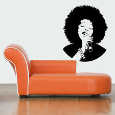Wall Vinyl Sticker Decals Mural Design Beautiful Jazz Afro Singer Woman #411