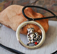 Antique Silver Plt & Crystal Tiger Pendant Leather Necklace, Men / Ladies Gift