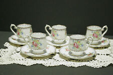 "RARE! LOT of 5 ROYAL ALBERT PETIT POINT ESPRESSO CUPS, SAUCERS 2 3/8"" MINT!"