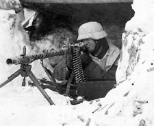 "German Soldier in Snow Gear taking aim with Machine Gun 8""x 10"" WWII Photo 331"