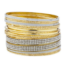 Lux Accessories GoldTone Silver Sticker Glitter Crystal Rhinestone Bangle Set