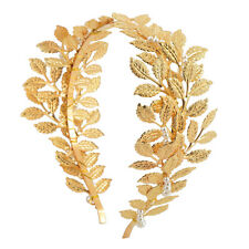 Lady Shining Gold Headband Leaf Headpiece Wedding Bridal Hair Jewelry Handmade