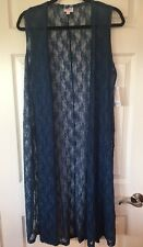 LuLaRoe Joy Lace Vest NWT Size Medium Navy Blue Lace