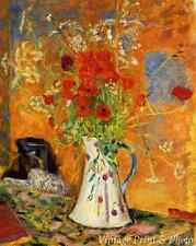 Poppies by Pierre Bonnard  Red Flowers Jug Vase Vivid Colors 8x10 Art Print 0651