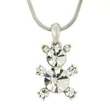 W Swarovski Crystal Teddy Bear Cute Pendant Necklace Jewelry Gift