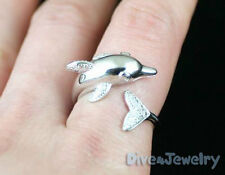 SOLID 925 Sterling Silver DOLPHIN Ring Marine Sealife diver Ring Size Adjustable