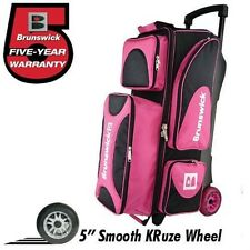 Brunswick Flash X 3 Ball Bowling Roller Bag with Urethane Wheels Color Pink
