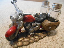 """Motorcycle Salt & Pepper Holder """"Spicy Rider""""  Hand Crafted DWK Home Decor"""