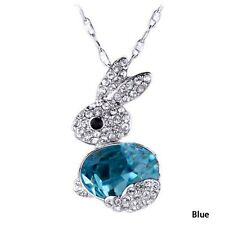 FREE GIFT BAG Silver Plated Crystal Rhinestone Animal Xmas Bunny Rabbit Necklace