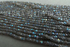 "13"" AAA LABRADORITE faceted gem stone rondelle beads 3.5mm blue green gold"