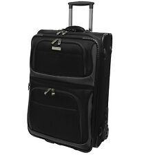 "Travelers Choice Conventional Black 22"" Rugged Carry-On Rolling Luggage Suitcase"