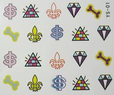 Accessoire ongles : nail art - Stickers décalcomanie, diamants, os, dollars