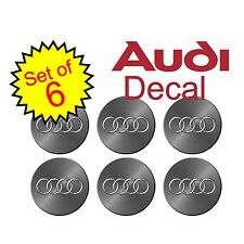 "Audi 2.25"" Simulated metal 6pc Replacement Decal Sticker center cap hub wheel a4"