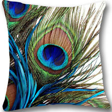 Peacock feathers Zippered 18x18 Cushion Cover Case Decorative Pillowcase L367