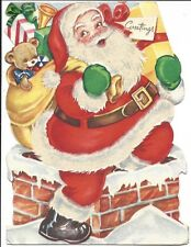 The Night Before Christmas Greeting Card, Santa Illus. Front and Back, 1950s